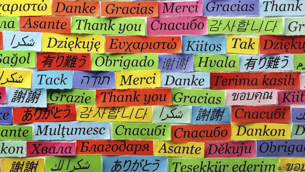 Nube de palabras en diferente idiomas