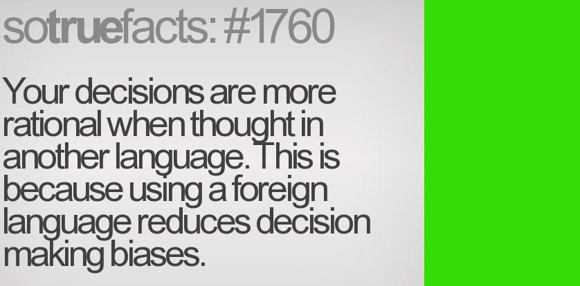 Pensar en otro idioma nos hace más racionales